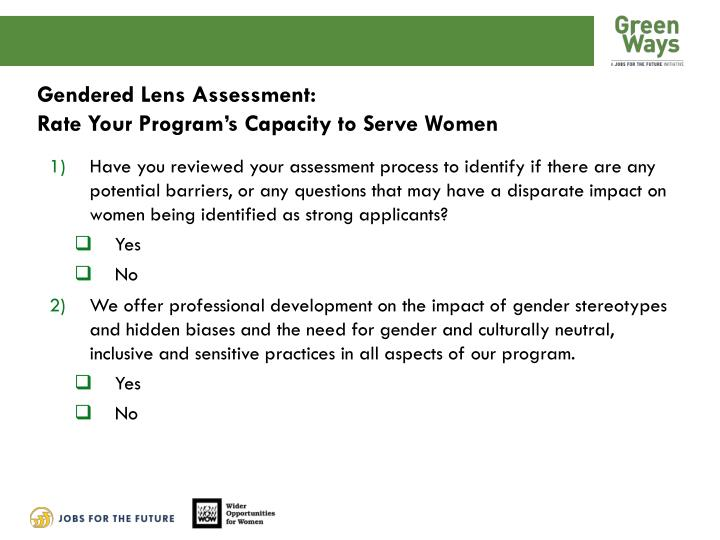 Gendered Lens Assessment: