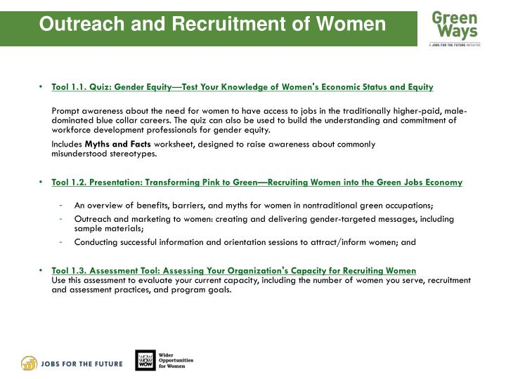 Outreach and Recruitment of Women