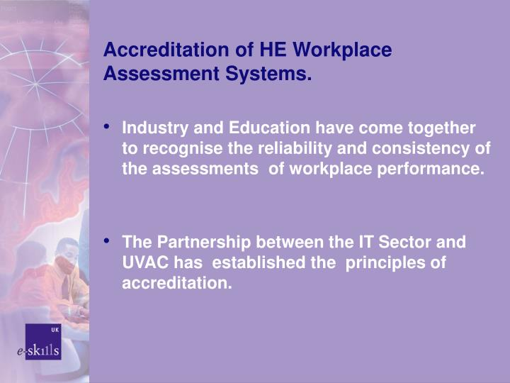 Accreditation of HE Workplace Assessment Systems.