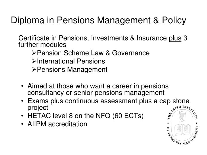 Diploma in Pensions Management & Policy