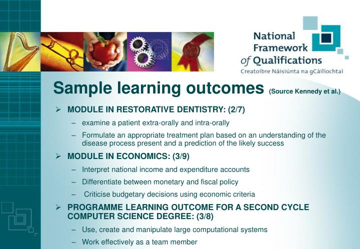Sample learning outcomes