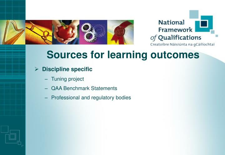 Sources for learning outcomes