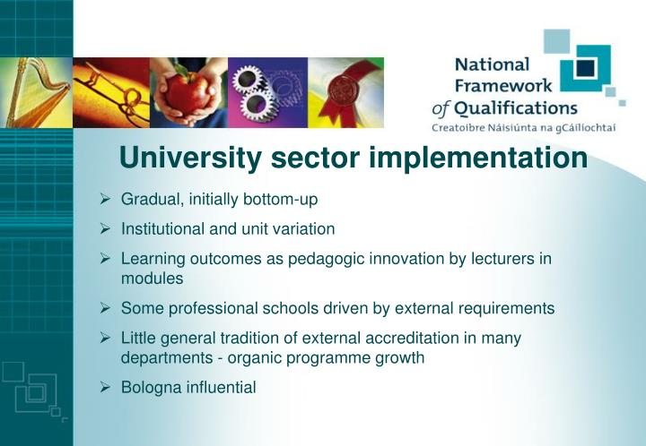 University sector implementation