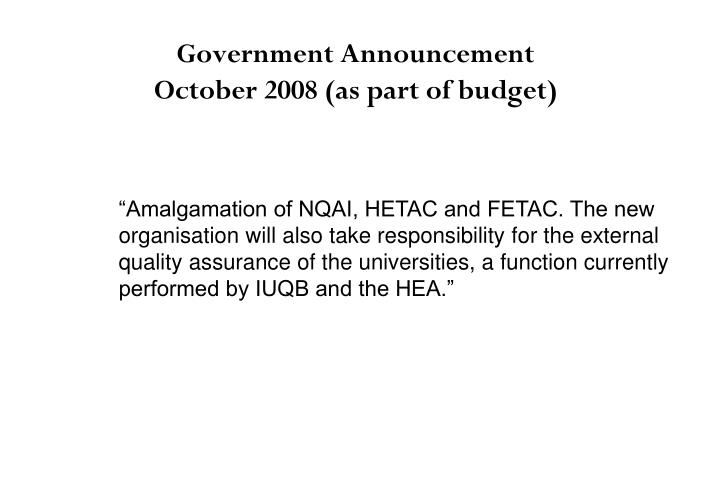 Government Announcement