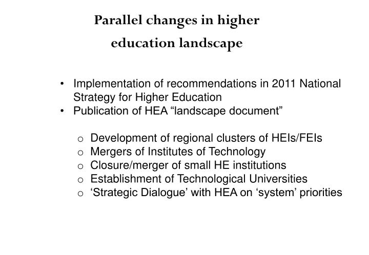 Implementation of recommendations in 2011 National Strategy for Higher Education