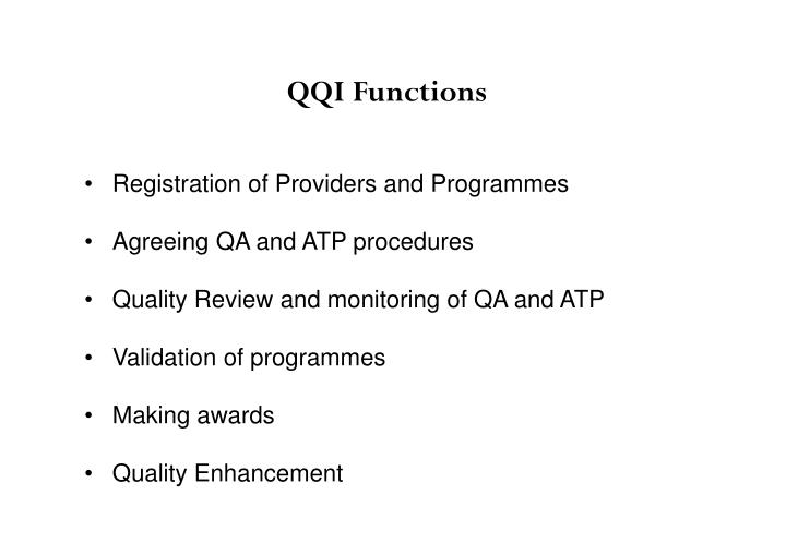 Registration of Providers and Programmes