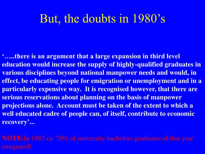 But, the doubts in 1980's