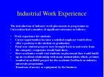 industrial work experience