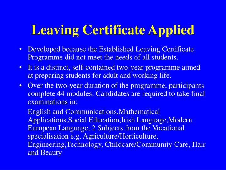 Leaving Certificate Applied
