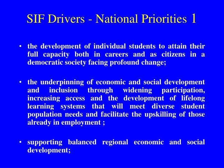 SIF Drivers - National Priorities