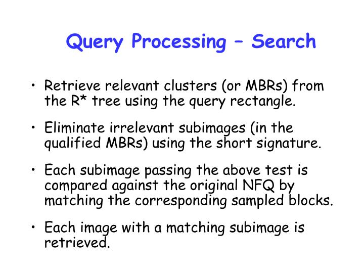Query Processing – Search
