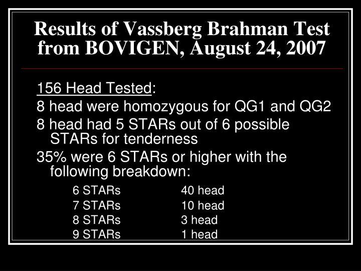 Results of Vassberg Brahman Test from BOVIGEN, August 24, 2007