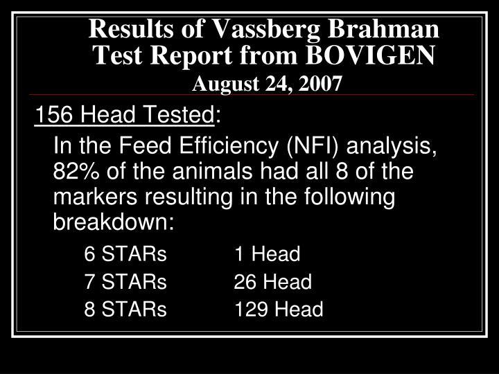 Results of Vassberg Brahman Test Report from BOVIGEN