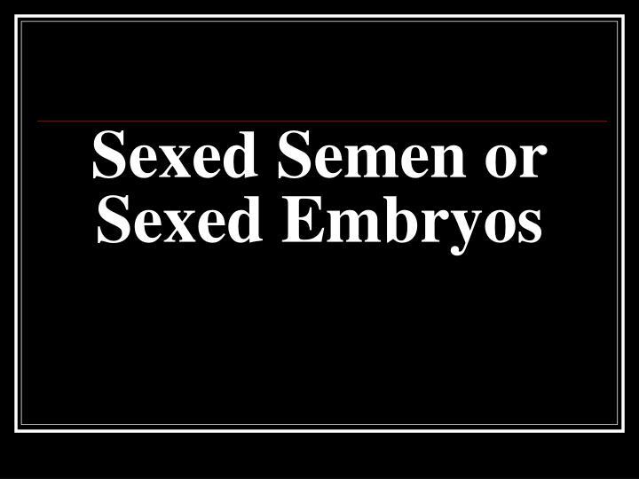 Sexed Semen or Sexed Embryos