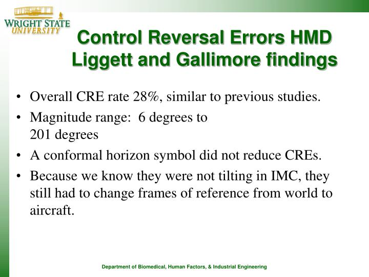 Control Reversal Errors HMD