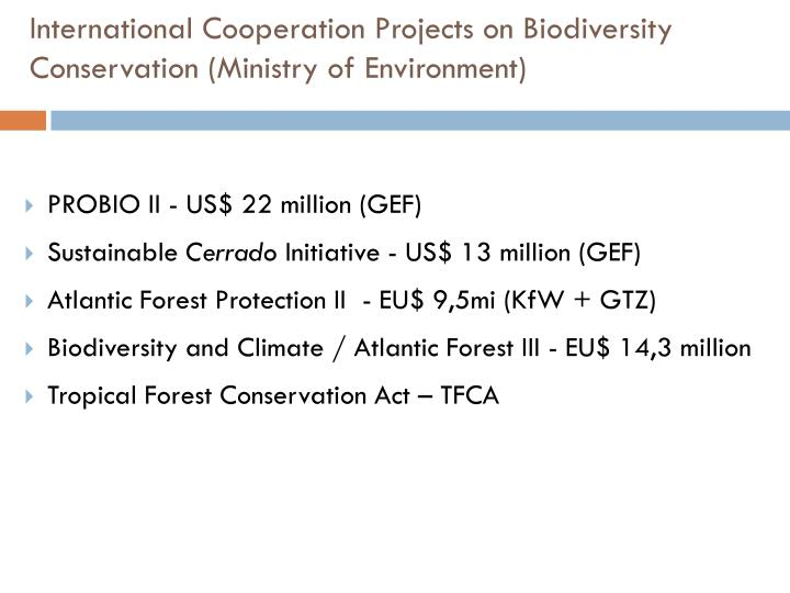 International Cooperation Projects on Biodiversity Conservation (Ministry of Environment)