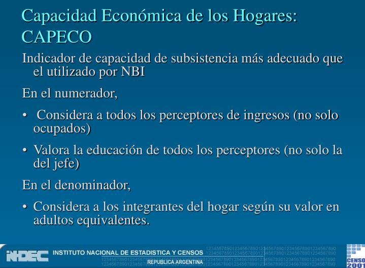 Capacidad Económica de los Hogares: