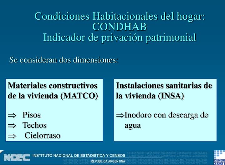 Condiciones Habitacionales del hogar: CONDHAB