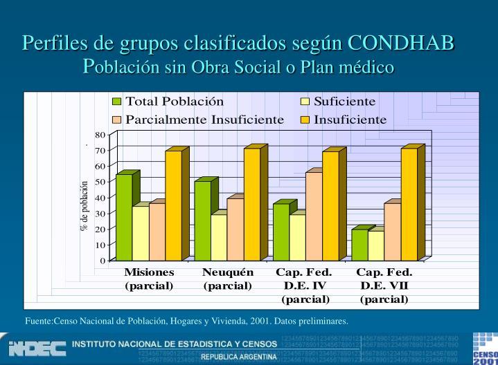 Perfiles de grupos clasificados según CONDHAB