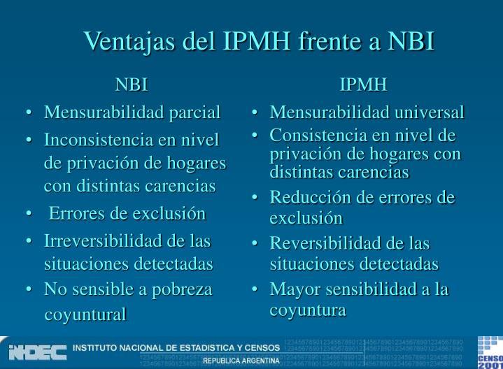 Ventajas del IPMH frente a NBI