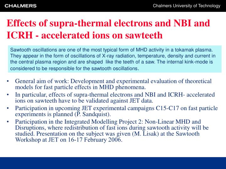 Effects of supra-thermal electrons and NBI and ICRH - accelerated ions on sawteeth