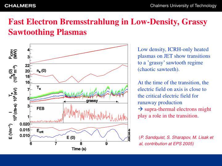 Fast Electron Bremsstrahlung in Low-Density, Grassy Sawtoothing Plasmas