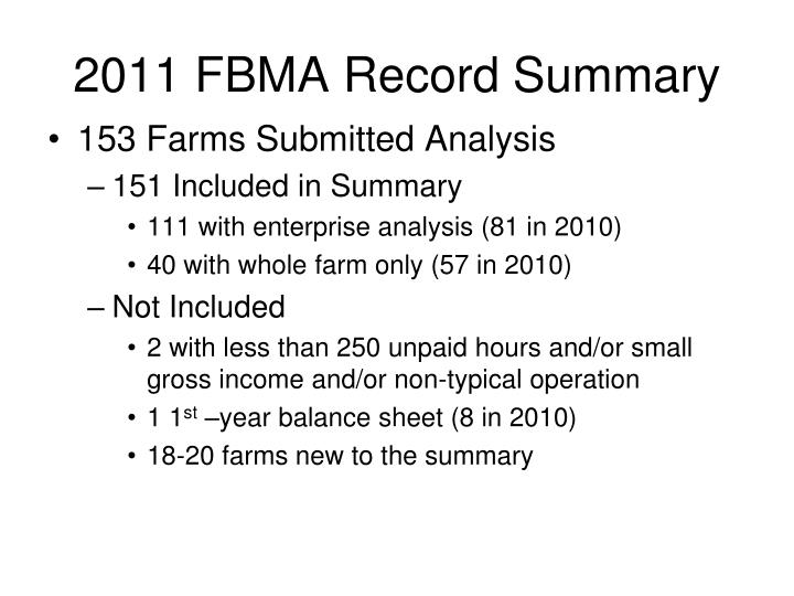 2011 fbma record summary