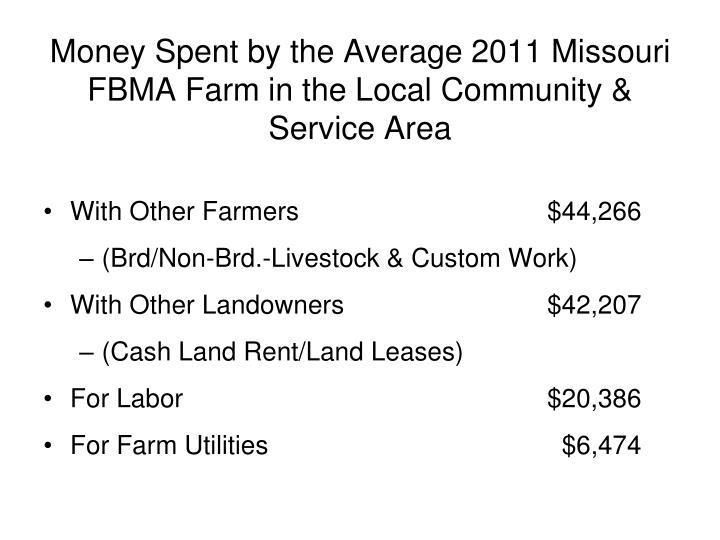 Money Spent by the Average 2011 Missouri FBMA Farm in the Local Community & Service Area