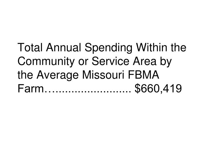 Total Annual Spending Within the Community or Service Area by the Average Missouri FBMA Farm…........................ $660,419