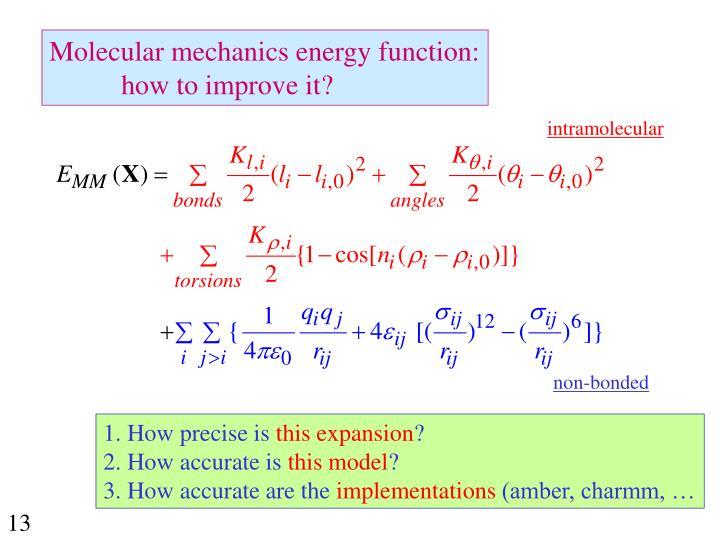 Molecular mechanics energy function: