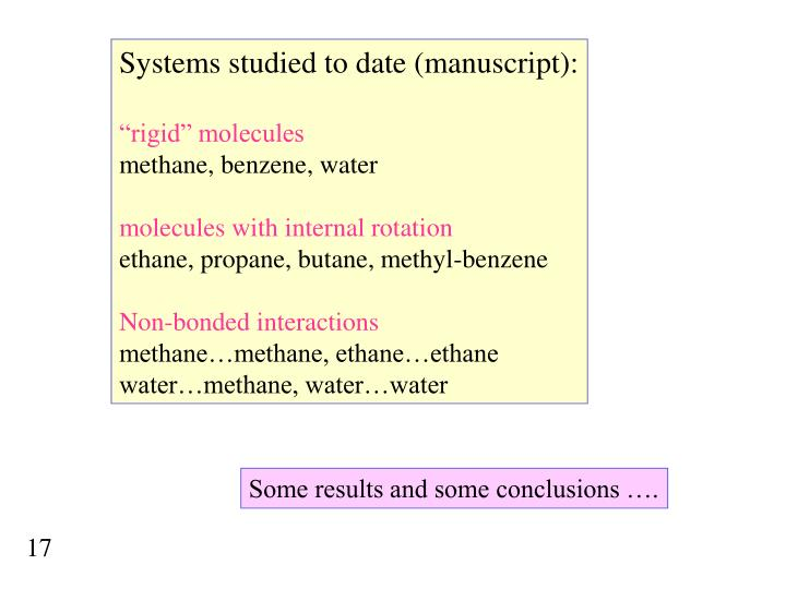 Systems studied to date (manuscript):