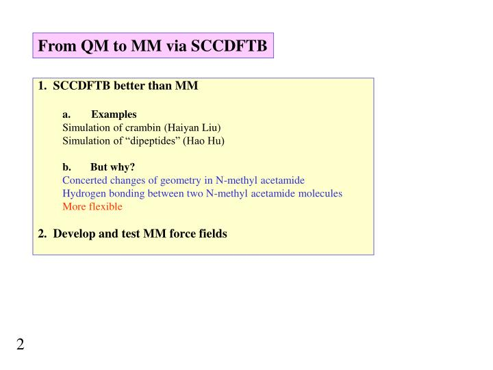 From QM to MM via SCCDFTB
