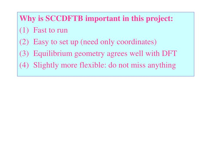 Why is SCCDFTB important in this project: