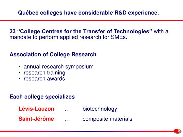 Québec colleges have considerable R&D experience.