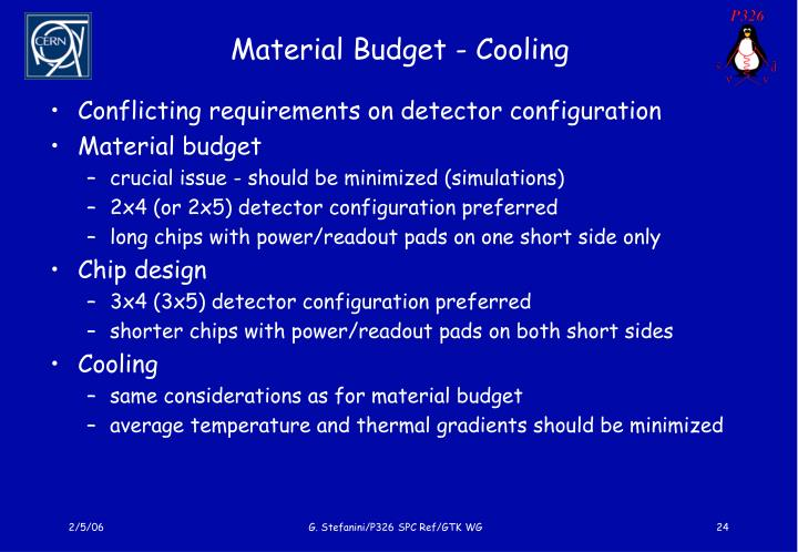 Material Budget - Cooling