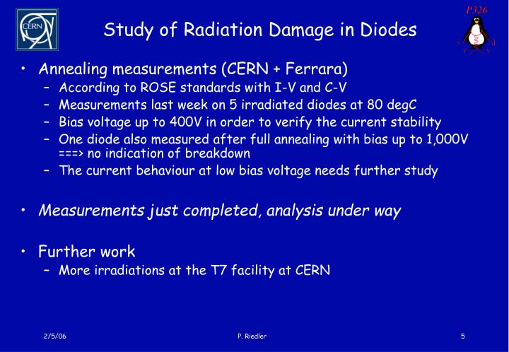 Study of Radiation Damage in Diodes