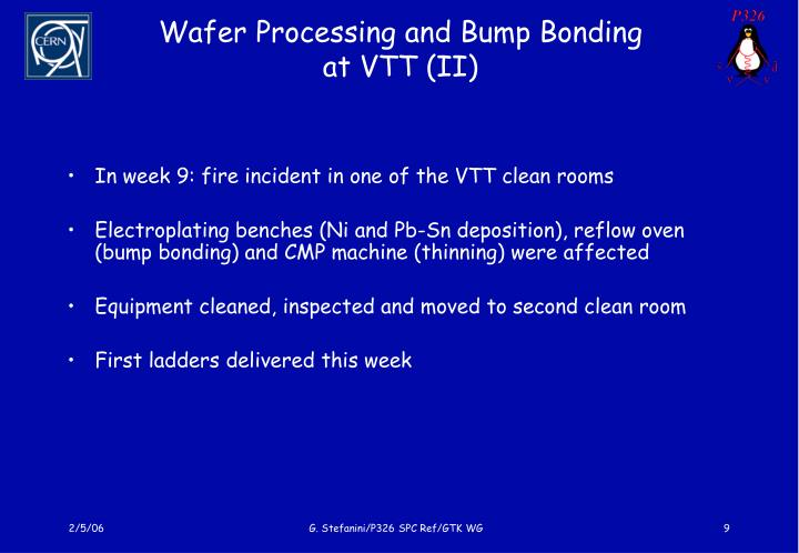 Wafer Processing and Bump Bonding