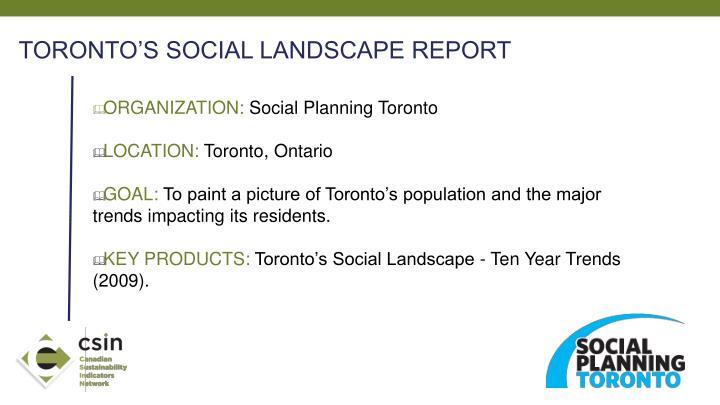 TORONTO'S SOCIAL LANDSCAPE REPORT