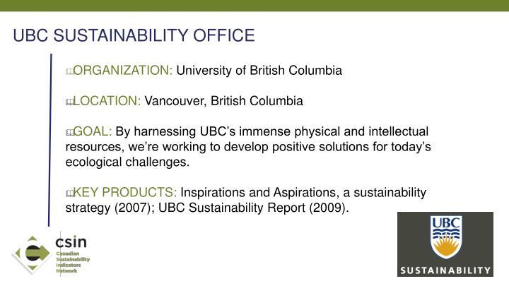 UBC SUSTAINABILITY OFFICE