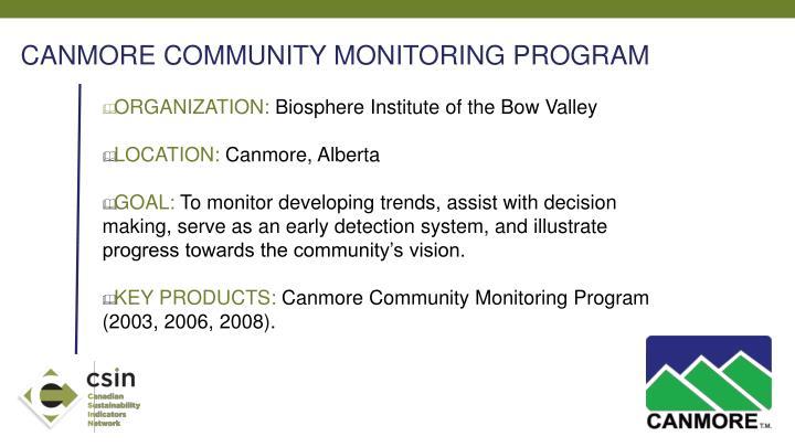 CANMORE COMMUNITY MONITORING PROGRAM