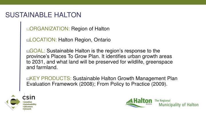 SUSTAINABLE HALTON