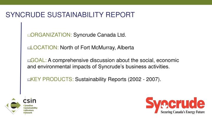 SYNCRUDE SUSTAINABILITY REPORT