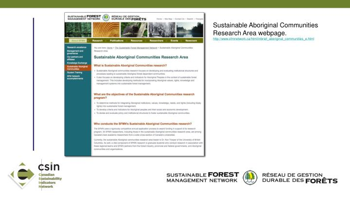 Sustainable Aboriginal Communities Research Area webpage.