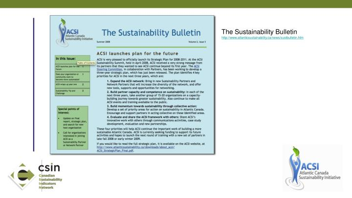 The Sustainability Bulletin