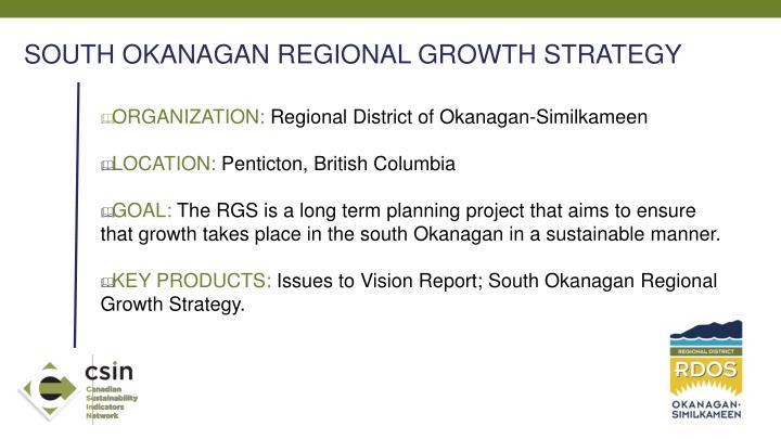 SOUTH OKANAGAN REGIONAL GROWTH STRATEGY