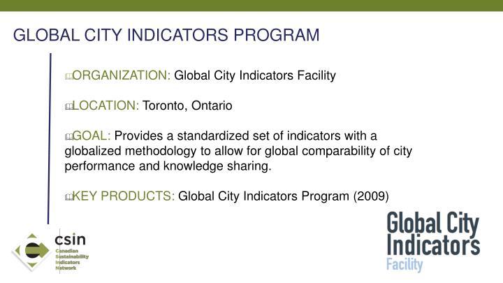 GLOBAL CITY INDICATORS PROGRAM