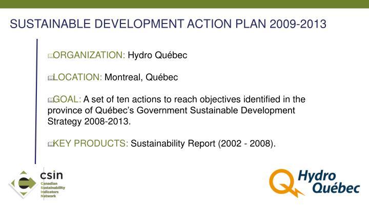 SUSTAINABLE DEVELOPMENT ACTION PLAN 2009-2013
