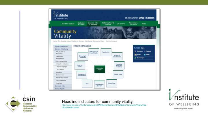 Headline indicators for community vitality.