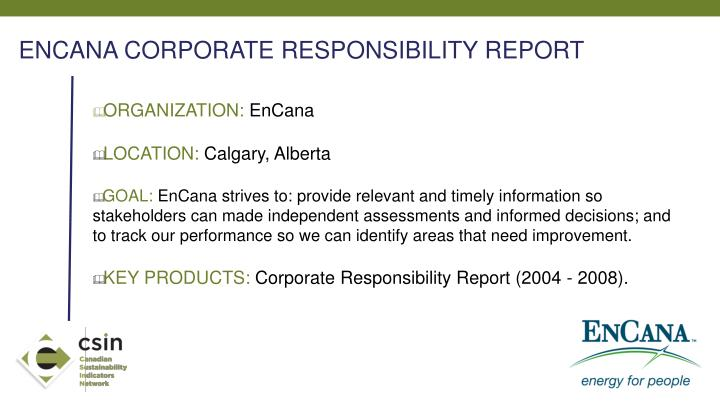 ENCANA CORPORATE RESPONSIBILITY REPORT