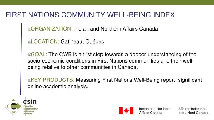 FIRST NATIONS COMMUNITY WELL-BEING INDEX